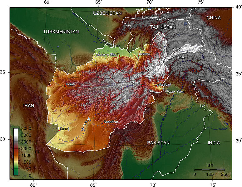 map of Afghanistan topography